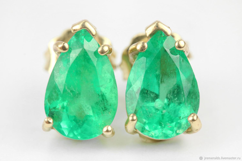Earrings Handmade Livemaster 3 25cts Emerald Stud Teardrop