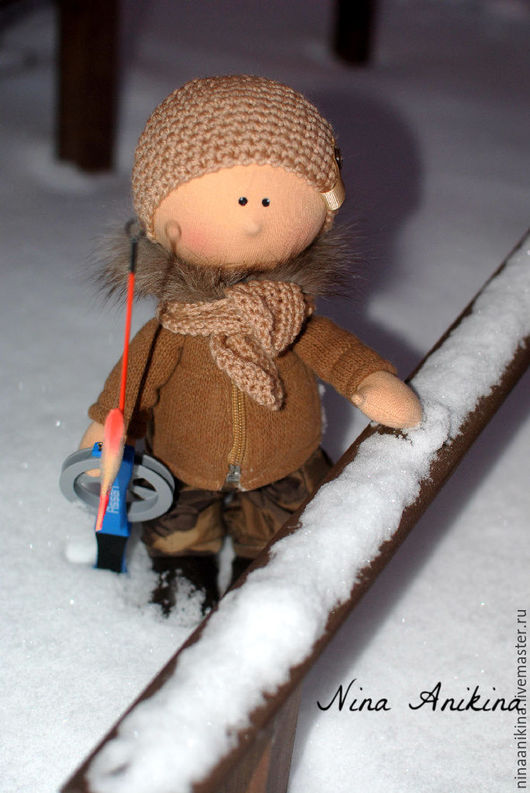 Коллекционные куклы ручной работы. Ярмарка Мастеров - ручная работа. Купить Текстильный Рыбачок. Handmade. Коричневый, кукла в подарок, подарок