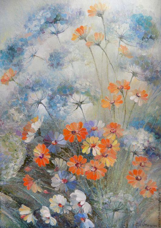 Картины цветов ручной работы. Ярмарка Мастеров - ручная работа. Купить Летний дождь 2. Handmade. Панно, картина маслом