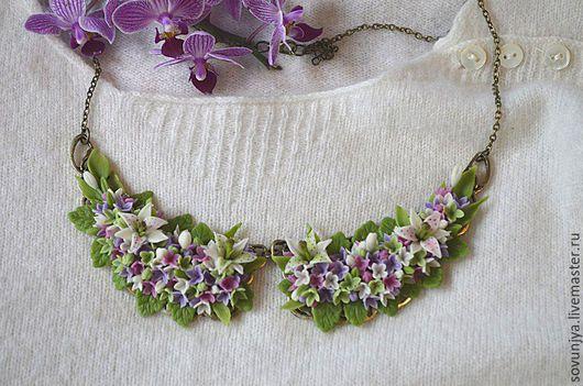 Колье, бусы ручной работы. Ярмарка Мастеров - ручная работа. Купить Колье Летний сон. Handmade. Сиреневый, цветы лилии