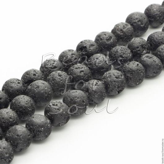 Для украшений ручной работы. Ярмарка Мастеров - ручная работа. Купить Лава вулканическая черная бусины шар 12мм - арт.10-01. Handmade.