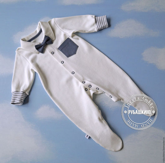 """Одежда ручной работы. Ярмарка Мастеров - ручная работа. Купить Рубашка - слип """"Джентельмен с пелёнок"""". Handmade. Нарядный слип, для младенца"""