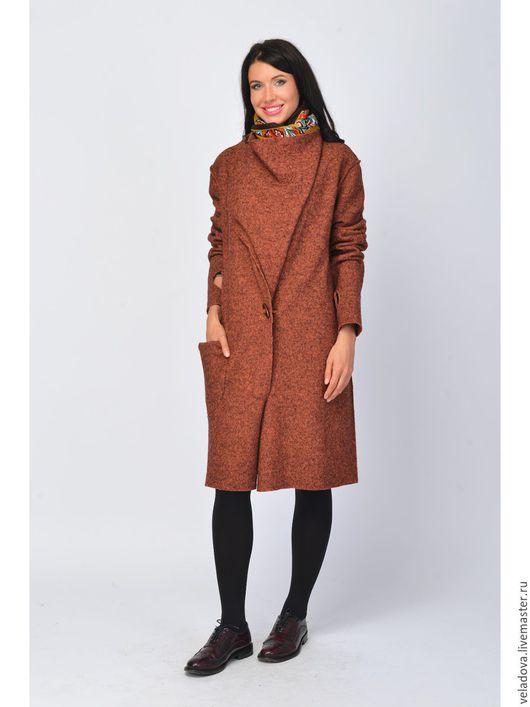 """Верхняя одежда ручной работы. Ярмарка Мастеров - ручная работа. Купить Шерстяное пальто -кардиган """"Рыжая осень"""". Handmade. Рыжий"""