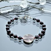handmade. Livemaster - original item Black agate and garnet bracelet