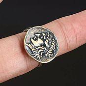 Винтаж handmade. Livemaster - original item Stylish ring Roman coin, 925 silver, bronze, size 17.5. Handmade.