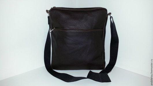 Мужские сумки ручной работы. Ярмарка Мастеров - ручная работа. Купить Мужская сумка 11 из натуральной кожи. Handmade. Коричневый