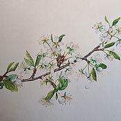 Картины и панно ручной работы. Ярмарка Мастеров - ручная работа Ветка цветущей вишни. Handmade.