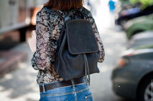 Рюкзаки ручной работы. Ярмарка Мастеров - ручная работа. Купить Кожаный рюкзак ручной работы. Handmade. Черный, рюкзак городской