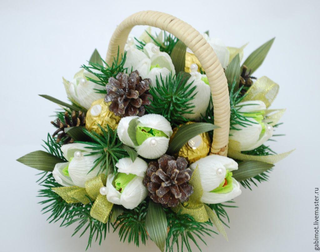 Цветов, новогодние букеты с конфетами из гофрированной бумаги