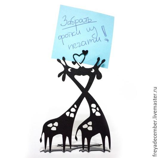 Влюблённые жирафы. Держатель для визиток/фотографий.