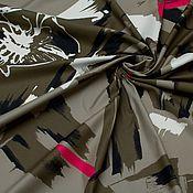 Материалы для творчества ручной работы. Ярмарка Мастеров - ручная работа Хлопок Хаки с розовыми полосами. Handmade.