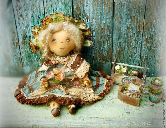 Коллекционные куклы ручной работы. Ярмарка Мастеров - ручная работа. Купить Мне утро улыбается цветами.... Handmade. Голубой, сад