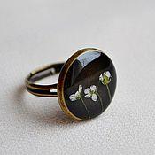 Украшения handmade. Livemaster - original item Round ring and earrings resin jewelry with real flowers. Handmade.