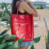 Сумки и аксессуары handmade. Livemaster - original item Women`s leather bag shopper red(leather bag). Handmade.