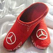 """Обувь ручной работы. Ярмарка Мастеров - ручная работа """"Mersedes"""" мужские валяные тапочки. Handmade."""
