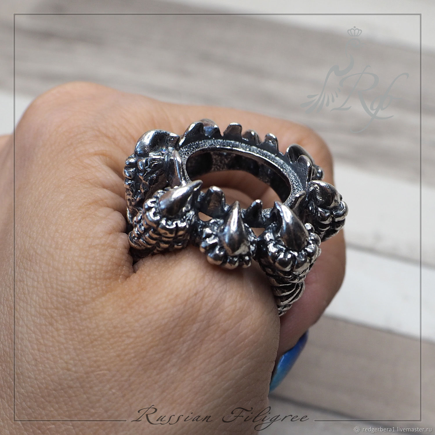 Base for the ring 'dragon's Claw' (20 mm) silver 12 microns, Blanks for jewelry, Kostroma,  Фото №1