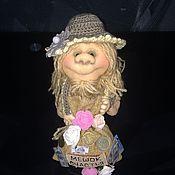 Куклы и игрушки ручной работы. Ярмарка Мастеров - ручная работа Домовенок ручной работы с мешком счастья (для МАРУСИ). Handmade.