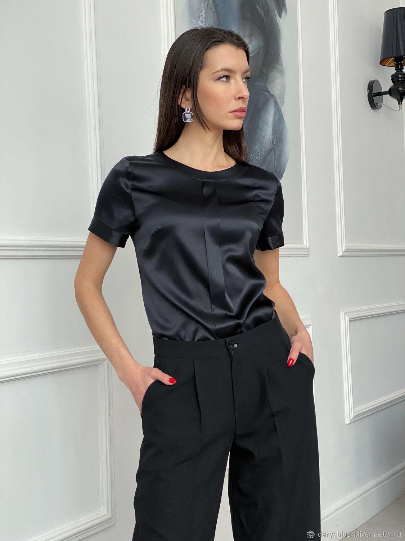 Черная шелковая блузка-топ, Блузки, Владимир,  Фото №1
