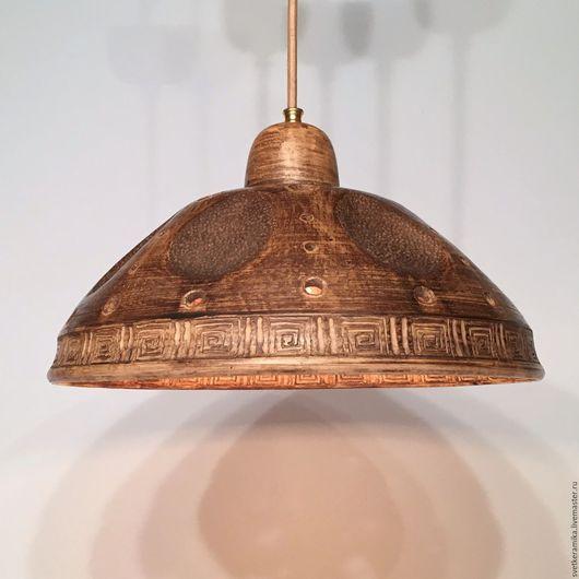 Освещение ручной работы. Ярмарка Мастеров - ручная работа. Купить Керамический светильник с большим глубоким плафоном (34 см). Handmade.
