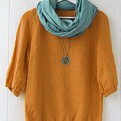 Одежда handmade. Livemaster - original item Mustard blouse made of 100% linen. Handmade.