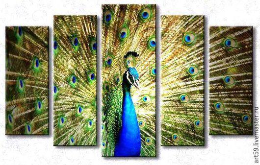 Фантазийные сюжеты ручной работы. Ярмарка Мастеров - ручная работа. Купить Красивый полиптих (холст,краски). Handmade. Разноцветный, павлины