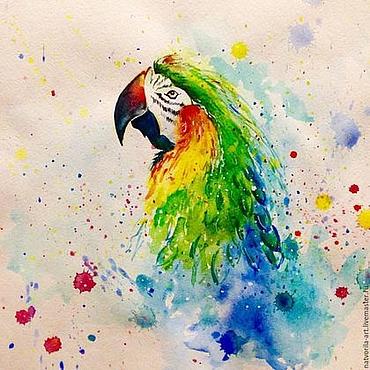 Картины и панно ручной работы. Ярмарка Мастеров - ручная работа Яркая акварель абстракция Попугай. Handmade.