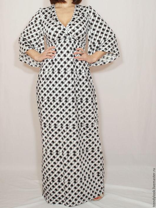 Платья ручной работы. Ярмарка Мастеров - ручная работа. Купить Черно-белое платье в горошек,черно-белое платье кимоно,платье в пол. Handmade.