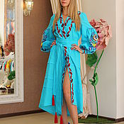 Одежда handmade. Livemaster - original item Embroidered turquoise dress with a wide belt. Handmade.