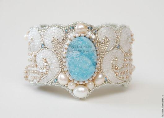 """Браслеты ручной работы. Ярмарка Мастеров - ручная работа. Купить Браслет  """"Azure sea"""". Handmade. Белый, браслет для невесты"""