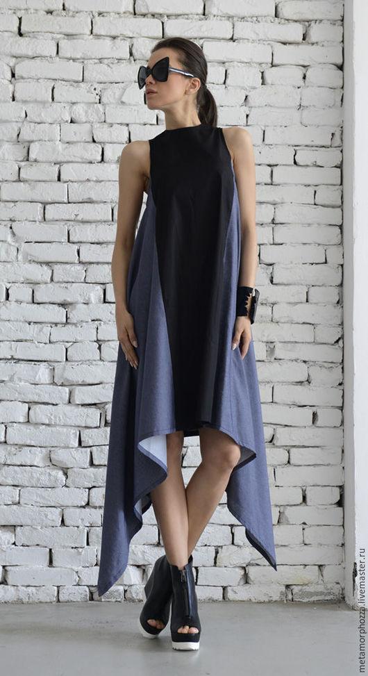 Платья ручной работы. Ярмарка Мастеров - ручная работа. Купить Джинсовое платье, асимметричное платье. Handmade. Платье, джинсовое платье