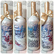 Подарки к праздникам ручной работы. Ярмарка Мастеров - ручная работа Декор бутылок к новому году и Рождеству. Handmade.