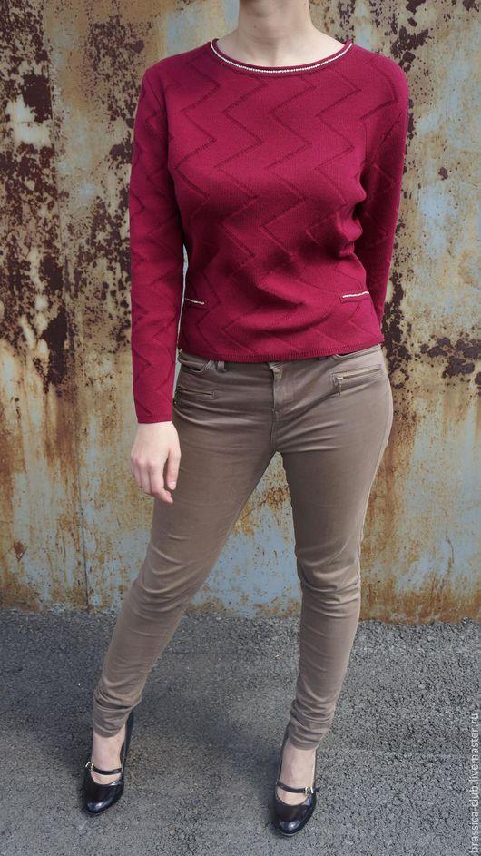 Кофты и свитера ручной работы. Ярмарка Мастеров - ручная работа. Купить Пуловер со стразами. Handmade. Бордовый, свитшот женский