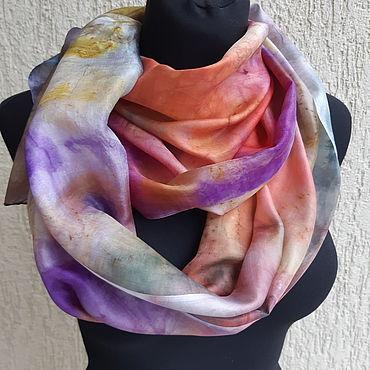 Accessories handmade. Livemaster - original item Scarves: Batik. Natural silk. Falling leaves. Painting. Handmade.