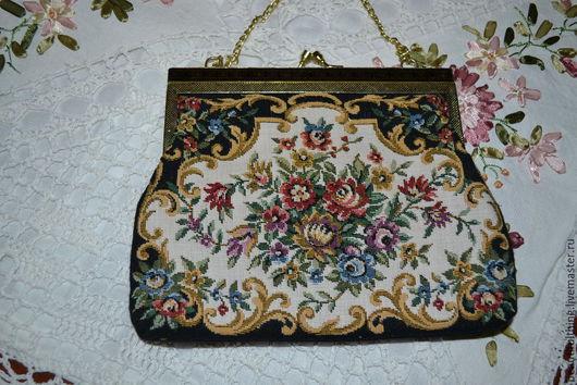 Винтажные сумки и кошельки. Ярмарка Мастеров - ручная работа. Купить Винтажная театральная гобеленовая сумочка в стиле Petit Рoint. Handmade.