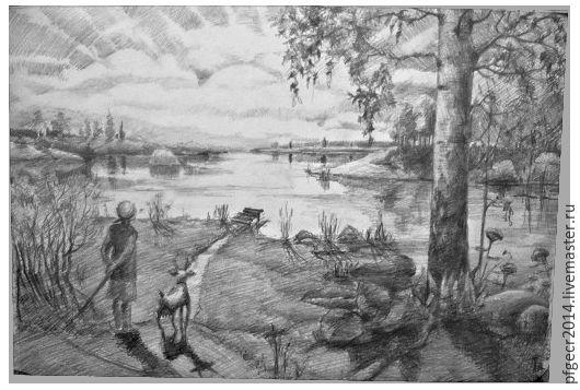 """Пейзаж ручной работы. Ярмарка Мастеров - ручная работа. Купить Графика. карандашный рисунок """"Коза Люська, на прогулке"""". Handmade. Рисунок"""
