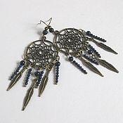 Украшения handmade. Livemaster - original item Long earrings dream catcher with lapis lazuli. Handmade.