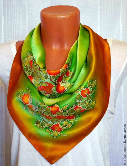 Шали, палантины ручной работы. Ярмарка Мастеров - ручная работа. Купить Платок шелковый батик Апельсиновое настроение. Handmade.
