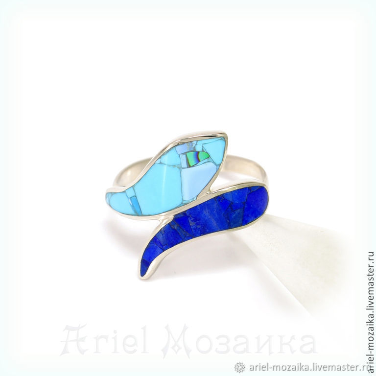 Ring. Turquoise and lapis Lazuli. Size 20. Unique snake ring, Rings, Moscow,  Фото №1