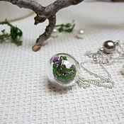 Украшения handmade. Livemaster - original item Transparent Pendant Sphere with Moss and Purple Flowers rustic. Handmade.