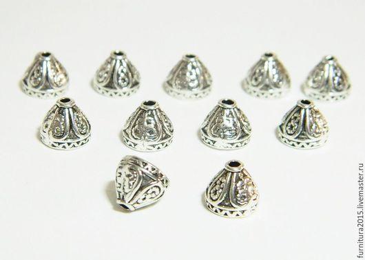 Для украшений ручной работы. Ярмарка Мастеров - ручная работа. Купить Шапочки конусные для бусин 8 хмм, сплав металлов, цвет серебро, 10 шт.. Handmade.