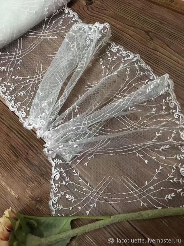 220 мм Белое кружево с вышивкой на сетке, Кружево, Санкт-Петербург, Фото №1