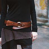 Аксессуары handmade. Livemaster - original item The asymmetrical strap leather brown With ring. Handmade.
