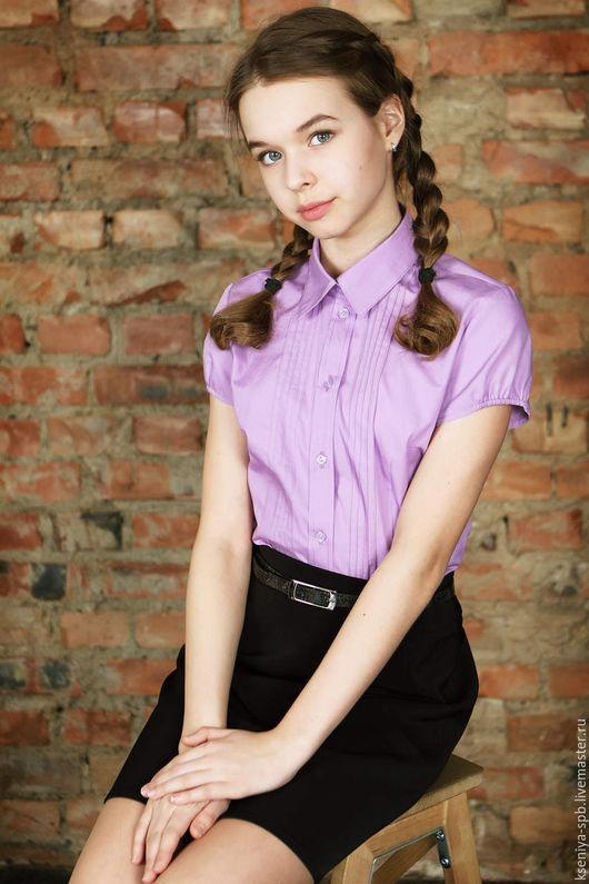 Блузки ручной работы. Ярмарка Мастеров - ручная работа. Купить Сиреневая блузка, школьная блузка, блуза для девушки (51). Handmade.