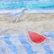 Картины и панно ручной работы. Ярмарка Мастеров - ручная работа Лето, море, песок, арбуз, чайка. Handmade.