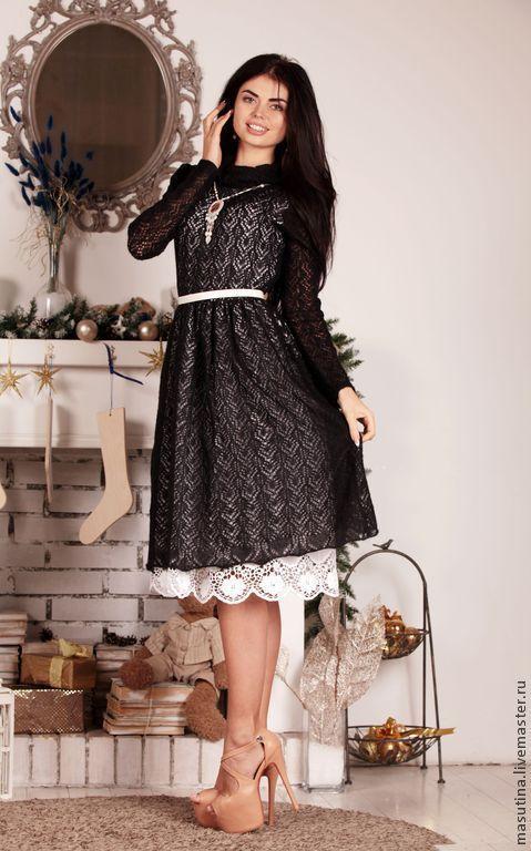 """Платья ручной работы. Ярмарка Мастеров - ручная работа. Купить Платье """"Кружево ночи"""". Handmade. Чёрно-белый, купить платье"""