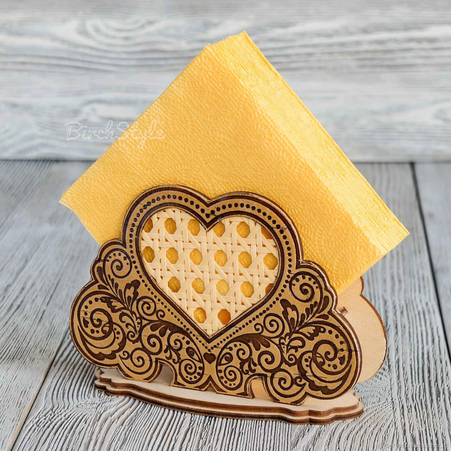 Napkin holder made of wood 'Heart', decorated with birch bark and rattan, Napkin holders, Novosibirsk,  Фото №1