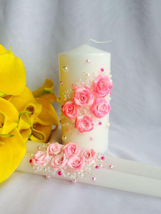Свечи Семейный очаг в нежно-розовом цвете