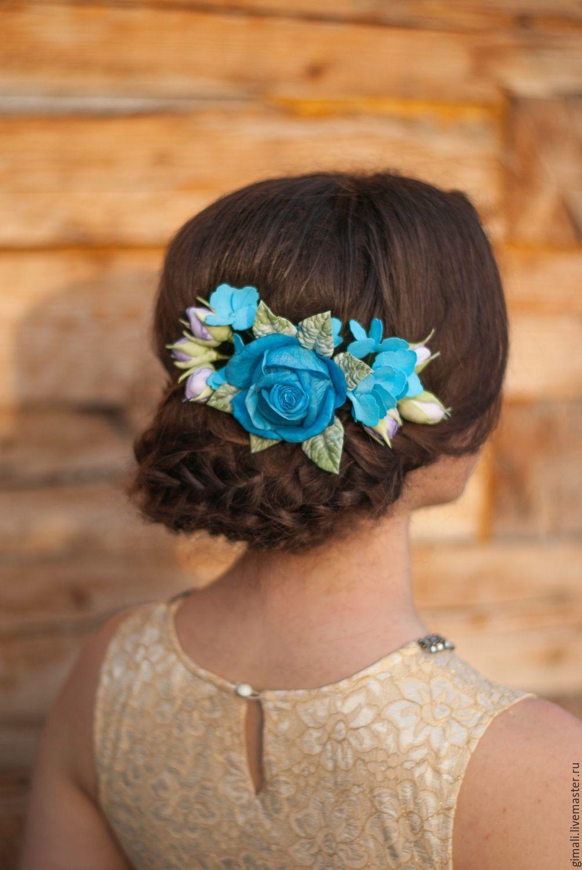 Гребень с синей розой в прическу, Свадебные аксессуары, Павловка, Фото №1