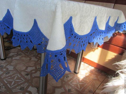 Текстиль, ковры ручной работы. Ярмарка Мастеров - ручная работа. Купить Скатерть шелковая с синей кружевной каймой,вязанной крючком. Handmade.