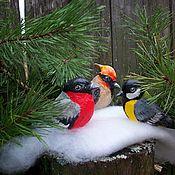 Сувениры и подарки handmade. Livemaster - original item Christmas decorations: Cotton Christmas toys set of birds in a bag. Handmade.